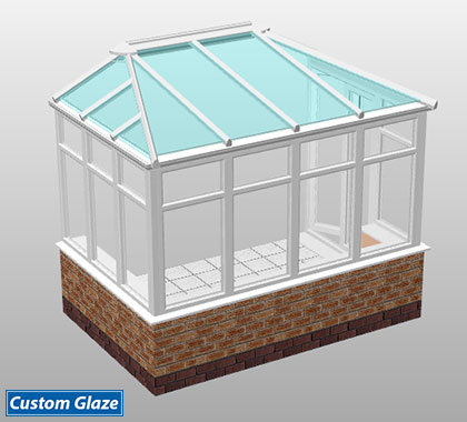 double hipped lean-to glass