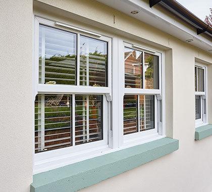 horned sash windows white