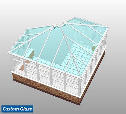 L shape glass