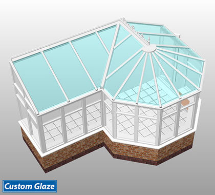 p shape glass