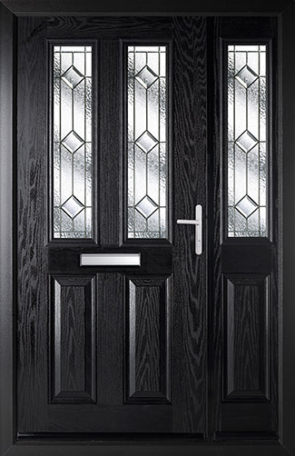 Door and Half in Black with Simplicity Glass