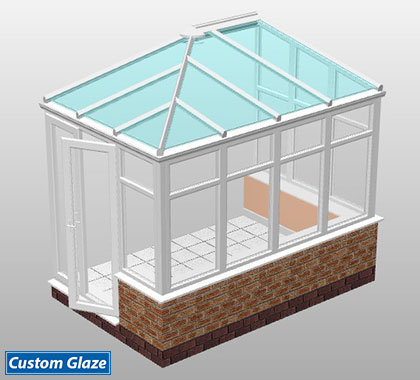 hipped lean-to glass