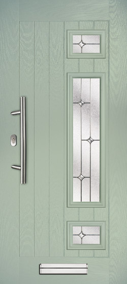 Neptune Farmhouse Right in Chartwell Green with Zinc Stars Glass