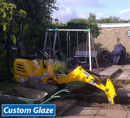 Our Custom Glaze mini digger can fit through a gap a low as 700mm in width.