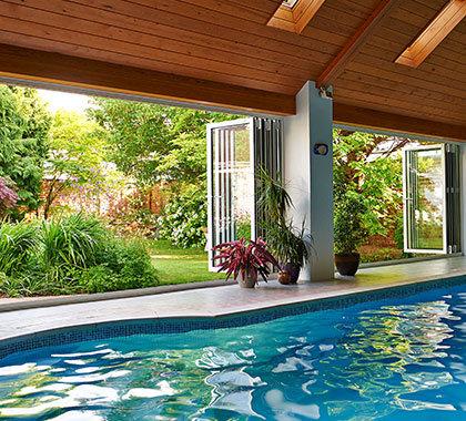 swimming pool aluminium bi-fold doors