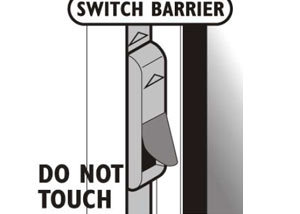 The switch barrier projecting from the locking mechanism, adjacent to the handle, is a safety device. It ensures that only one mode ('tilt' or 'turn') can be selected at any one time, by securing the handle into the selected mode, while the window is open. Avoid pressing the switch barrier as this action releases the handle and could allow it to be inadvertently rotated to the alternative mode, resulting in the window disengaging from its gear. Always firmly close the window before changing the handle position.